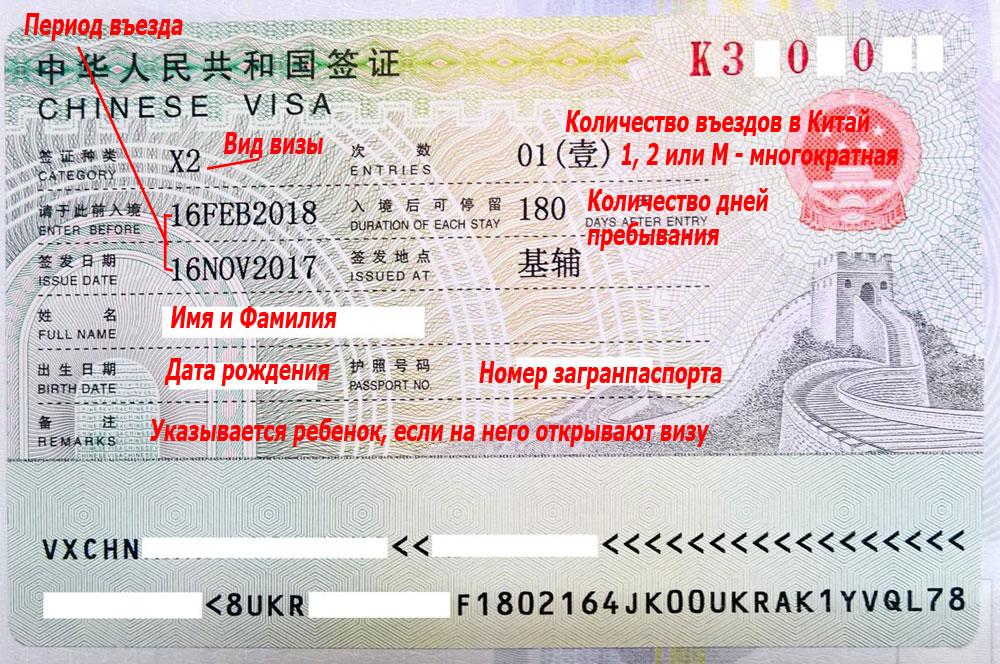 виза для родственников в китае